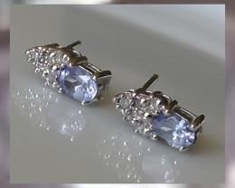 Exquisite Tanzanite, Diamonds & White Gold Earring Elegance