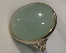 FABULOUSLY GLOWING AQUAMARINE CABOCHON STERLING SILVER RING