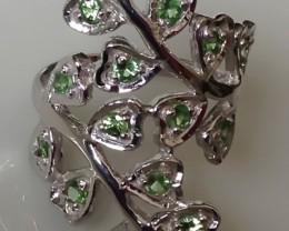 Rare Tsavorite Garnet Sterling Silver Ring (White Gold over)