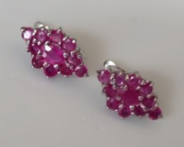 STUNNING NATURAL RUBY STERLING SILVER EARRINGS