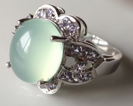 A Gracious Glowing Prehnite Tanzanite Sterling Silver Ring