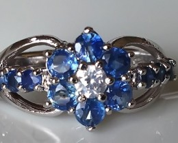 Ceylon Blue Sapphire Sterling Silver Ring size 7 - Brand New
