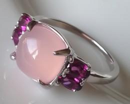 The most elegant exquisite Rose Quartz Rhodolite Garnet Ring