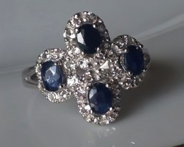 Size 6.5 Brand New Sapphire Ring Sterling Silver -