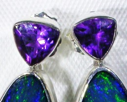 AMETHYST AND OPAL EARRINGS -FACTORY DIRECT [SJ3025]