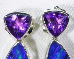 AMETHYST AND OPAL EARRINGS -FACTORY DIRECT [SJ3027]
