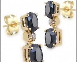 3.47 CT Sapphire & Diamond Designer Earrings MSRP $525