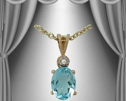 2.19 CT Blue Topaz & Diamond Fine Designer Necklace $460