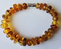 70.00ct DOMINICAN AMBER NUGGET BRACELET MAGNETIC CLASP 8.00""
