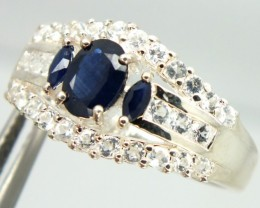 BLUE SAPPHIRE SILVER RING  24.20 CTS  SIZE-9.25   RJ-239