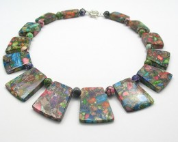 Stunning Dyed Variscite Graduated Necklace