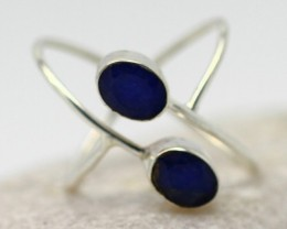 3.2Grams Blue Lapis Lazuli Solid 925 Silver Ring Size8.5