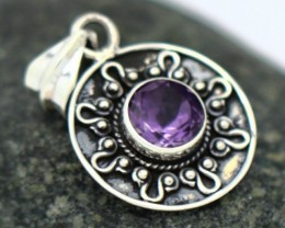 3.65Grams Purple Amethyst Solid 925 Silver Pendant