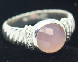 6.35Grams Pink Rose Quartz Solid 925 Silver Ring Size 9