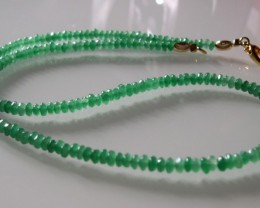 VERY NICE NATURAL EMERALD and GOLD  NECKLACE 50 CM