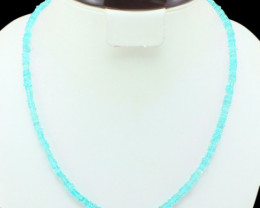AAA 109.00 CTS NATURAL FACETED BLUE APATITE BEADS NECKLACE