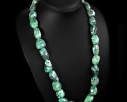 600.00 CTS NATURAL UNTREATED EMERALD BEADS NECKLACE