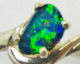 Opal Doublet  set in Silver ring size 6.5  PL 881