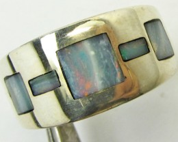 Opal inlay  set in Silver ring size  9  PL 84