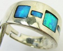 Opal Inlay  set in Silver ring size 9   PL 883