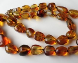 "GENUINE DOMINICAN AMBER BEAD NECKLACE 18.5"" 140.00cts COGNAC"