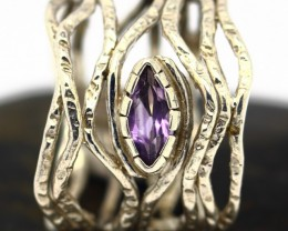 5.37Grams Purple Amethyst Solid 925 Silver Ring Size6.5
