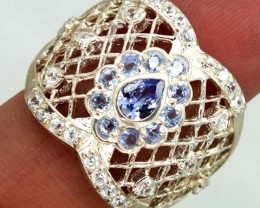TANZANITE  SILVER RING 36.55  CTS  SIZE-7.50    RJ-328
