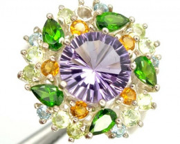AMETHYST SILVER RING  35.25 CTS  SIZE- 7.75   RJ-337