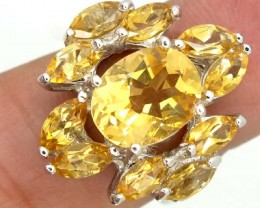 CITRINE  SILVER RING  33.85 CTS  SIZE-7.25    RJ-341