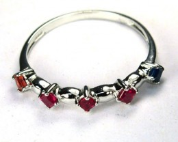 1.46 gram 925 Silver Ring (Size6.50) Natual Ruby & Sapphire