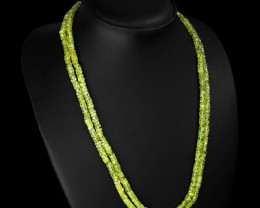 Genuine 2 Strands Green Peridot Beads Necklace