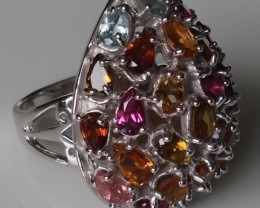 STUNNING STUDDED TOURMALINE STUDDED RING SIZE 7.5 .925 STERL