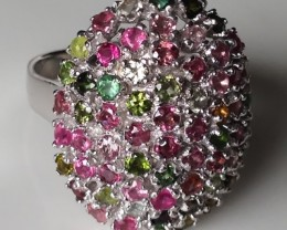 EXTRAORDINARY NATURAL TOURMALINE STUDDED RING SIZE 10.0