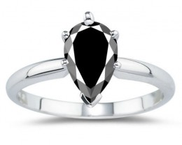 AAA GREAT BLACK PEAR CUT SOLITAIRE .925 SILVER RING