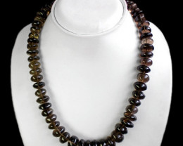 Smoky Quartz 614.00 Cts Round Beads Necklace Strand
