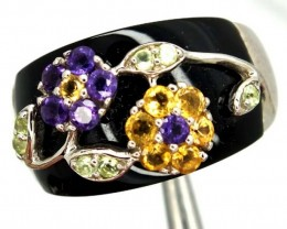 CITRINE AMETHYST  SILVER RING 38.20  CTS  SIZE- 10.50   RJ-3