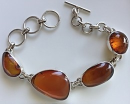 "BEAUTIFUL DOMINICAN AMBER STERLING SILVER BANGLE 7.5"" NEW"