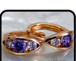 Huggie earrings with Amethyst and white Topaz 18K N/R