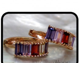 Huggie earrings with multi-coloured facetted Quartz 18K N/R