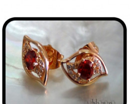 Dressy Ruby Sim -Quartz & Topaz Stud earrings 18K N/R