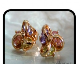 Entwined Flower studs with pink, green,purple Quartz 18K N/R