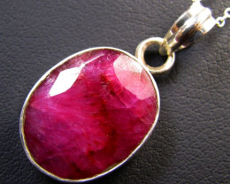 LARGE  AFRICAN   RUBY  SET SILVER PENDANT  GG 1132
