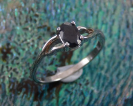 Subtle Natural Midnight Blue Sappire Silver Ring Sz 6 N/R