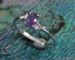 Charming Natural Amethyst 925 Sterling Silver Ring Size 7.5