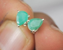 EMERALD EARRING-Sterling silver-Occasion gift-Natural Gem