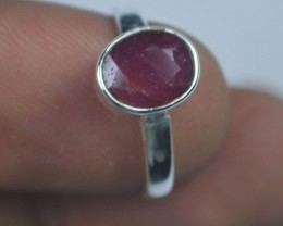 NATURAL UNHEATED RUBY RING-Sterling silver-Occasion gift