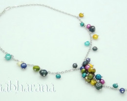 Multi- Coloured Genuine Pearl Y-Necklace N/R