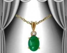 2.11 CT Cabochon Emerald & Diamond Fine Necklace $485