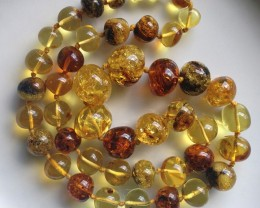 "368.00ct BAROQUE BALTIC AMBER NECKLACE AND 29"" DOMINICAN"