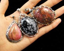 Three Jasper pendant s for price one!  MJA 387